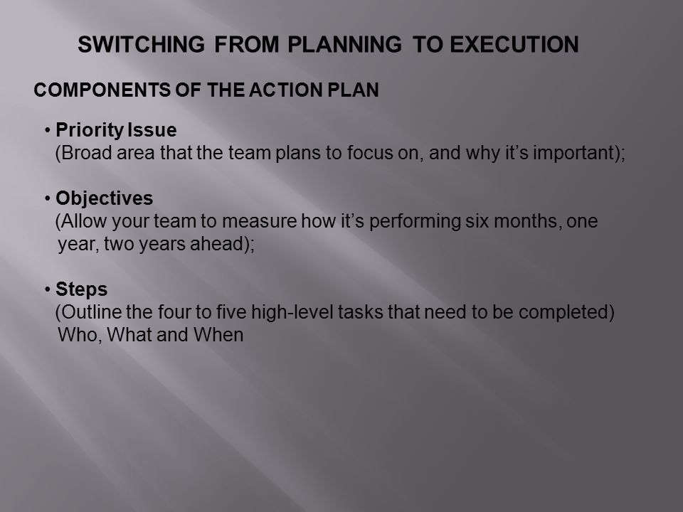 SWITCHING FROM PLANNING TO EXECUTION COMPONENTS OF THE ACTION PLAN Priority Issue (Broad area that the team plans to focus on, and why it's important); Objectives (Allow your team to measure how it's performing six months, one year, two years ahead); Steps (Outline the four to five high-level tasks that need to be completed) Who, What and When