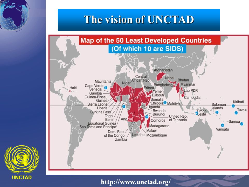 UNCTAD8 UNCTAD http://www.unctad.org/ 1.low income => under $900 per capita 2.weak human assets => measured through a composite Human Assets Index 3.economic vulnerability => measured through a composite Economic Vulnerability Index, composed of: a.instability of agricultural production b.instability of exports of goods and services c.diversification from traditional economic activities d.merchandise export concentration e.economic smallness Economic characteristics of LDCs The vision of UNCTAD