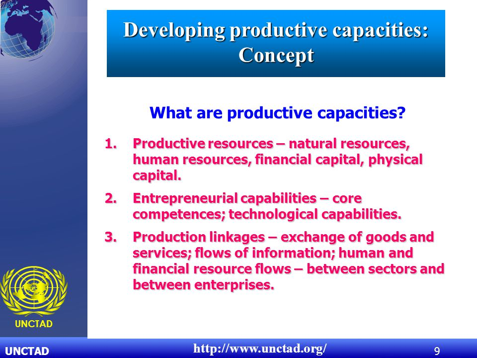 UNCTAD9 UNCTAD What are productive capacities? http://www.unctad.org/ 1.Productive resources – natural resources, human resources, financial capital,