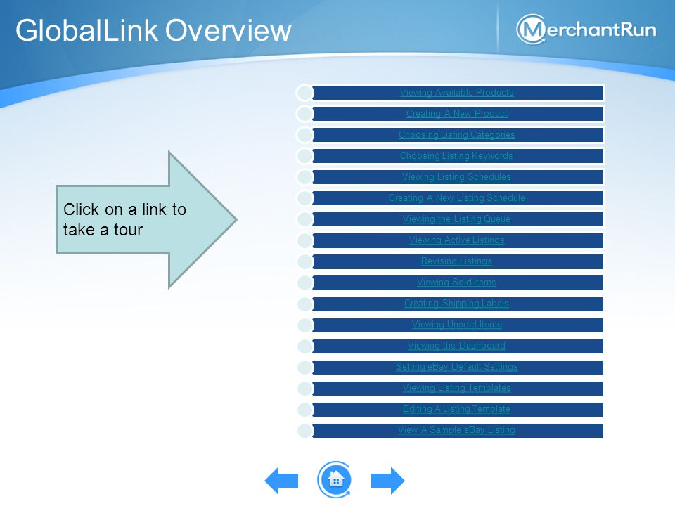 GlobalLink Overview Viewing Available Products Creating A New Product Choosing Listing Categories Choosing Listing Keywords Viewing Listing Schedules