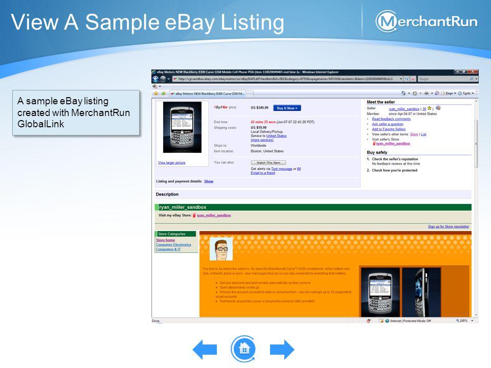 View A Sample eBay Listing A sample eBay listing created with MerchantRun GlobalLink