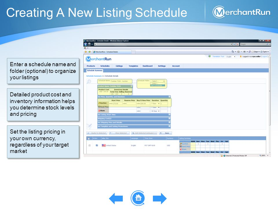 Creating A New Listing Schedule Enter a schedule name and folder (optional) to organize your listings Detailed product cost and inventory information