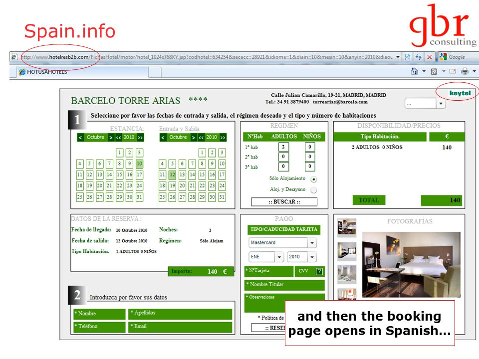 Spain.info and then the booking page opens in Spanish…