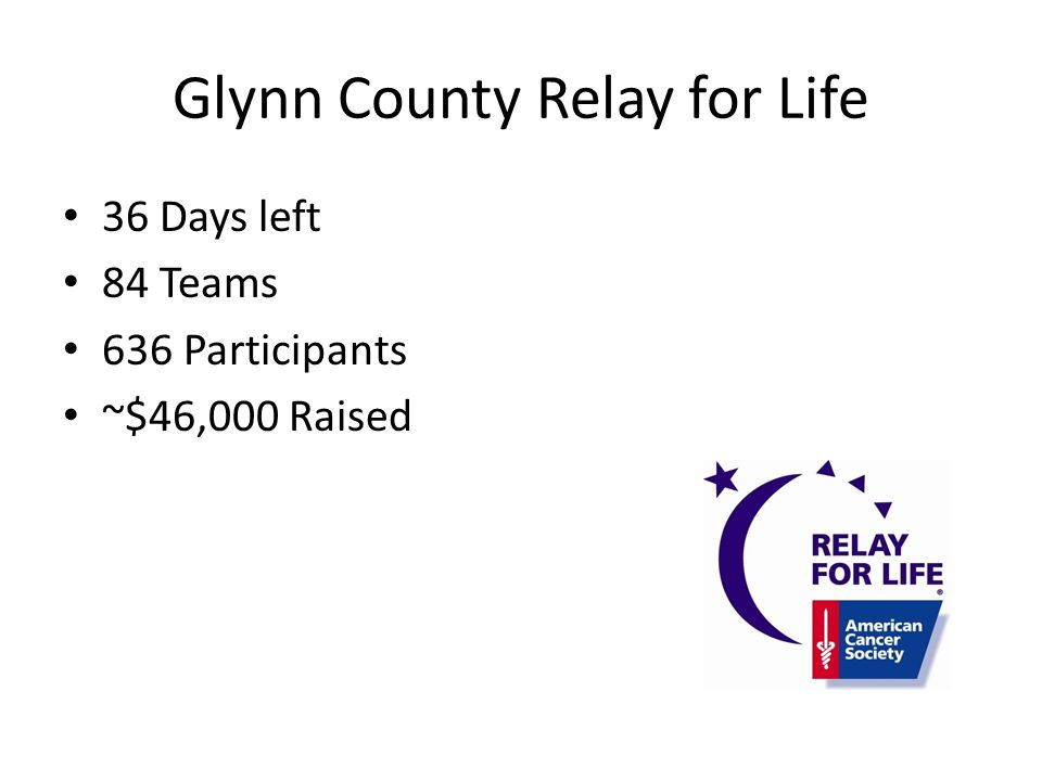Glynn County Relay for Life 36 Days left 84 Teams 636 Participants ~$46,000 Raised