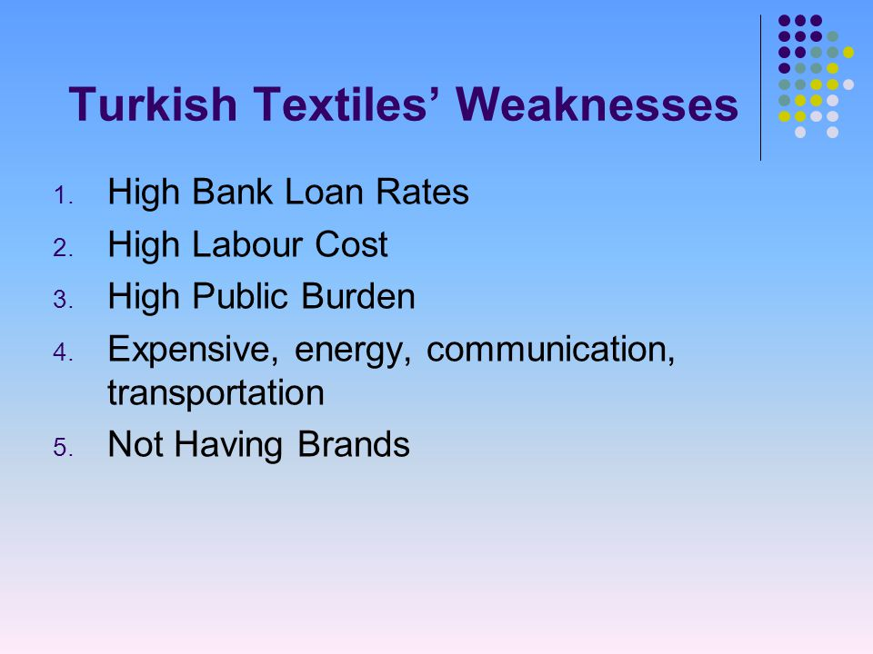 Turkish Textiles' Weaknesses 1. High Bank Loan Rates 2.