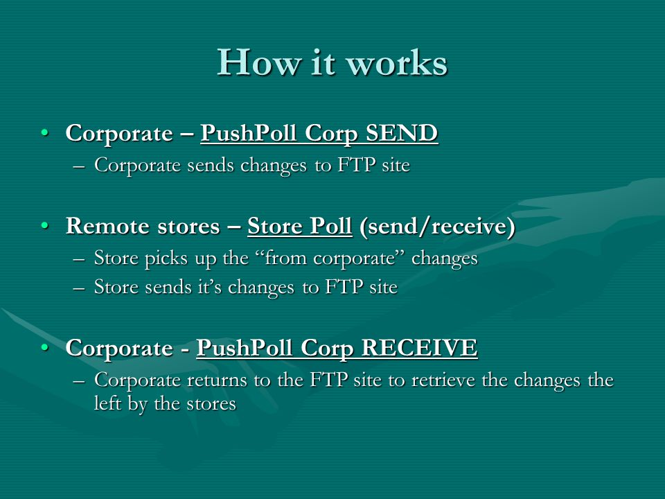 The Setup To use Polling you will need: A central computer (Corporate Polling Server)A central computer (Corporate Polling Server) –ComCash installed as a corporate installation –Polling installed as a corporate installation –This should be a dedicated computer At least one store using ComCash as it's POSAt least one store using ComCash as it's POS –Polling installed as a store environment It only needs to be installed on one computerIt only needs to be installed on one computer –Typically the server