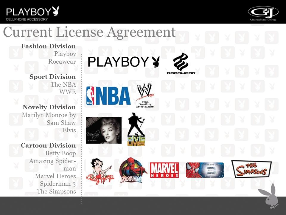 Current License Agreement Fashion Division Playboy Rocawear Sport Division The NBA WWE Novelty Division Marilyn Monroe by Sam Shaw Elvis Cartoon Division Betty Boop Amazing Spider- man Marvel Heroes Spiderman 3 The Simpsons