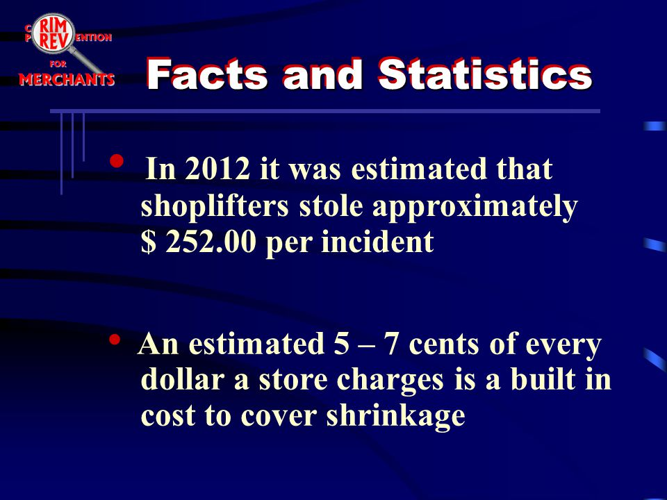 In 2012 it was estimated that shoplifters stole approximately $ 252.00 per incident An estimated 5 – 7 cents of every dollar a store charges is a buil
