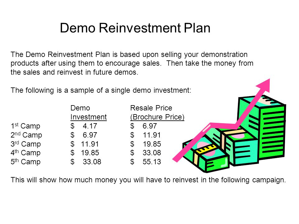 Demo Reinvestment Plan The Demo Reinvestment Plan is based upon selling your demonstration products after using them to encourage sales. Then take the