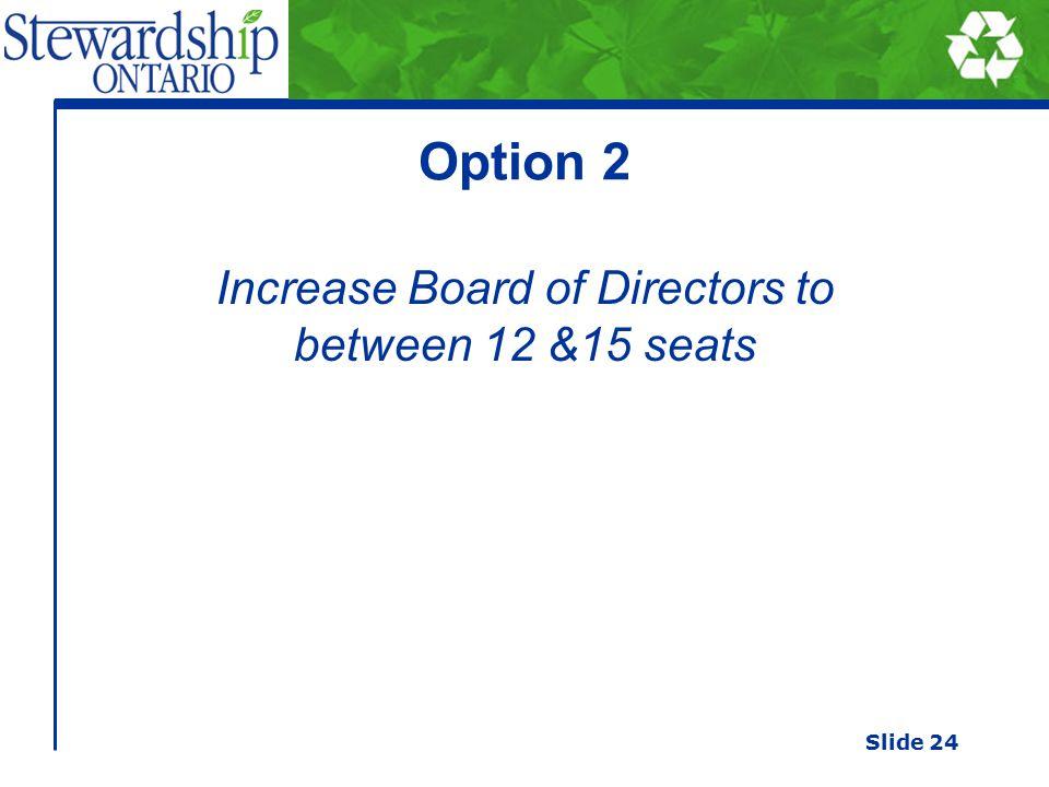 Option 2 Increase Board of Directors to between 12 &15 seats Slide 24