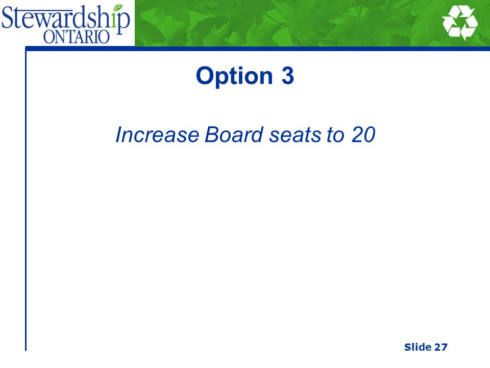 Option 3 Increase Board seats to 20 Slide 27