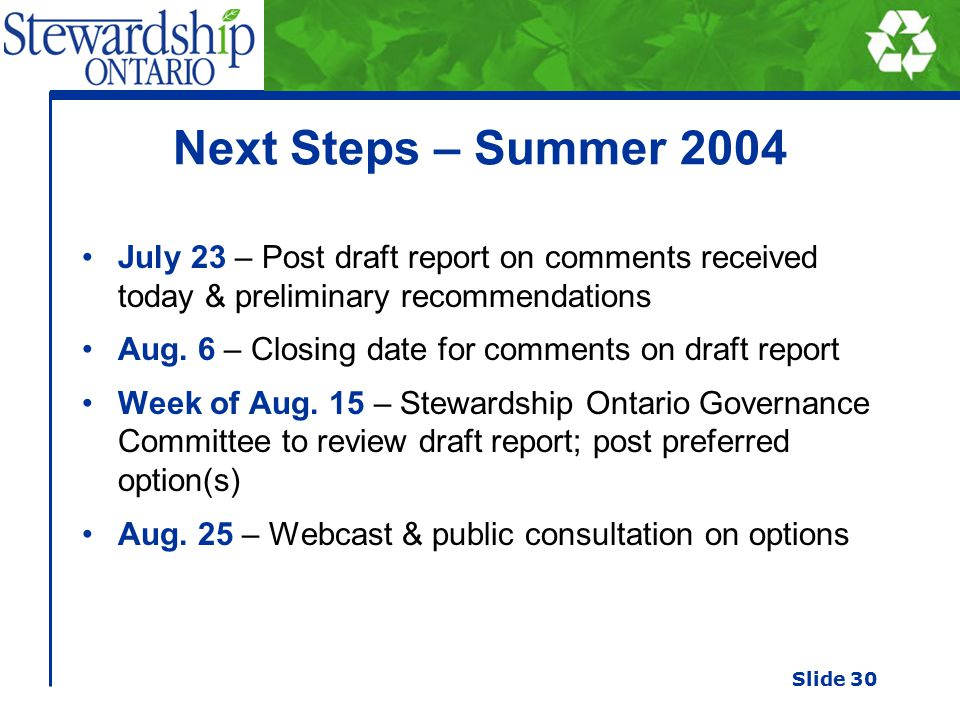 Next Steps – Summer 2004 July 23 – Post draft report on comments received today & preliminary recommendations Aug.