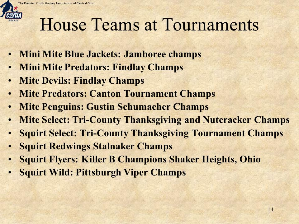 The Premier Youth Hockey Association of Central Ohio 14 House Teams at Tournaments Mini Mite Blue Jackets: Jamboree champs Mini Mite Predators: Findlay Champs Mite Devils: Findlay Champs Mite Predators: Canton Tournament Champs Mite Penguins: Gustin Schumacher Champs Mite Select: Tri-County Thanksgiving and Nutcracker Champs Squirt Select: Tri-County Thanksgiving Tournament Champs Squirt Redwings Stalnaker Champs Squirt Flyers: Killer B Champions Shaker Heights, Ohio Squirt Wild: Pittsburgh Viper Champs