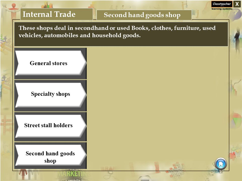 Internal Trade Business Studies Specialty shops Street stall holders Second hand goods shop General stores Second hand goods shop These shops deal in secondhand or used Books, clothes, furniture, used vehicles, automobiles and household goods.