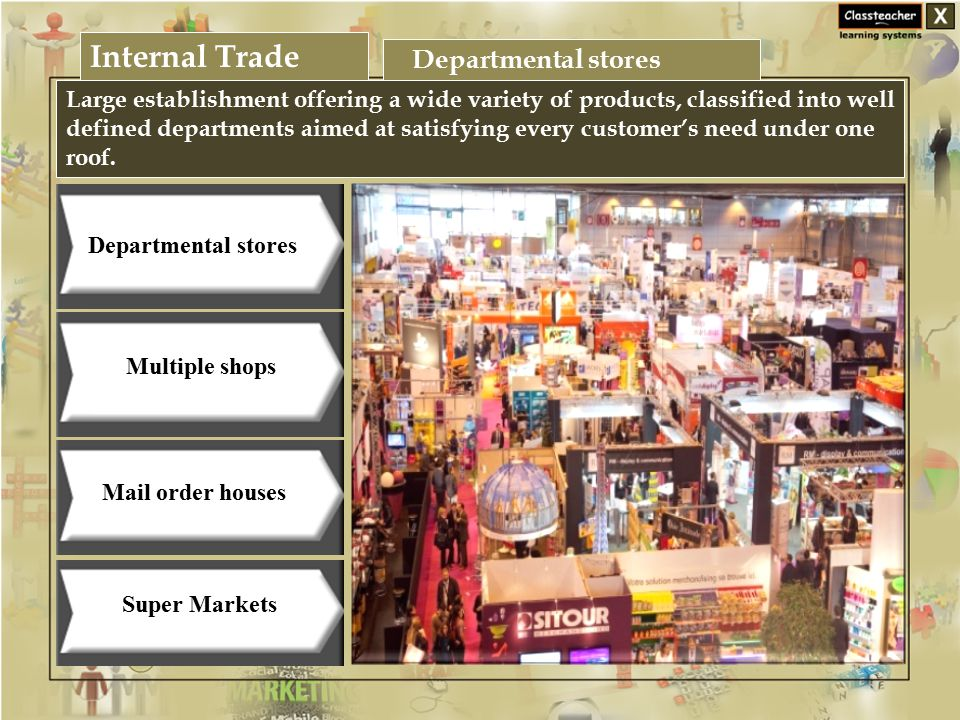 Internal Trade Business Studies Large establishment offering a wide variety of products, classified into well defined departments aimed at satisfying every customer's need under one roof.