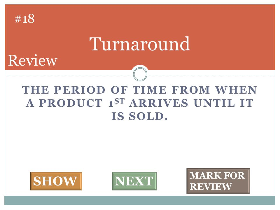THE PERIOD OF TIME FROM WHEN A PRODUCT 1 ST ARRIVES UNTIL IT IS SOLD.