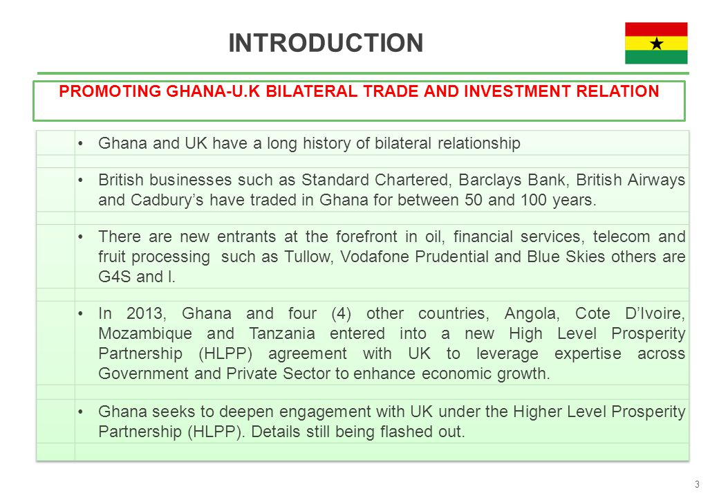 INTRODUCTION PROMOTING GHANA-U.K BILATERAL TRADE AND INVESTMENT RELATION 3