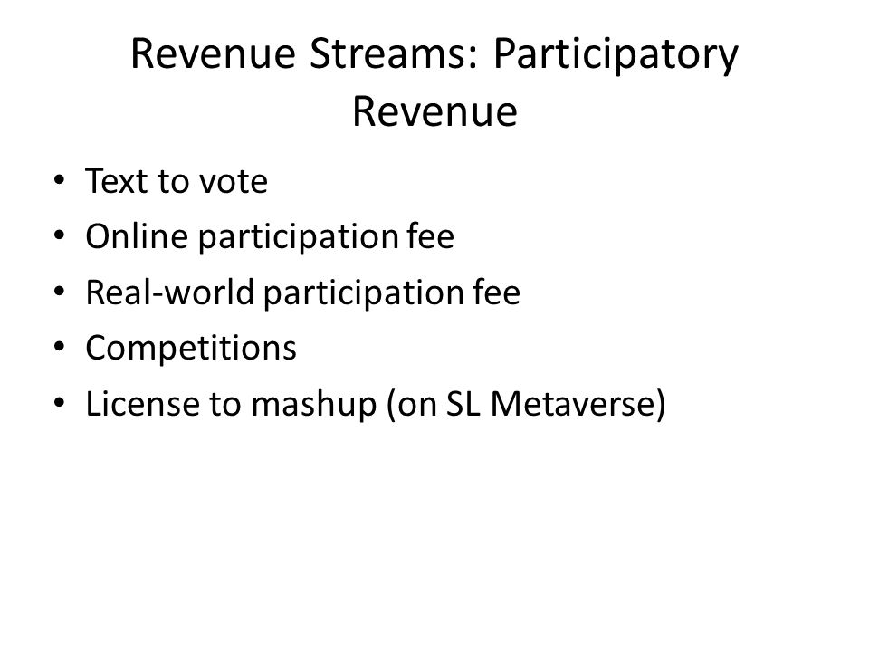 Revenue Streams: Participatory Revenue Text to vote Online participation fee Real-world participation fee Competitions License to mashup (on SL Metaverse)