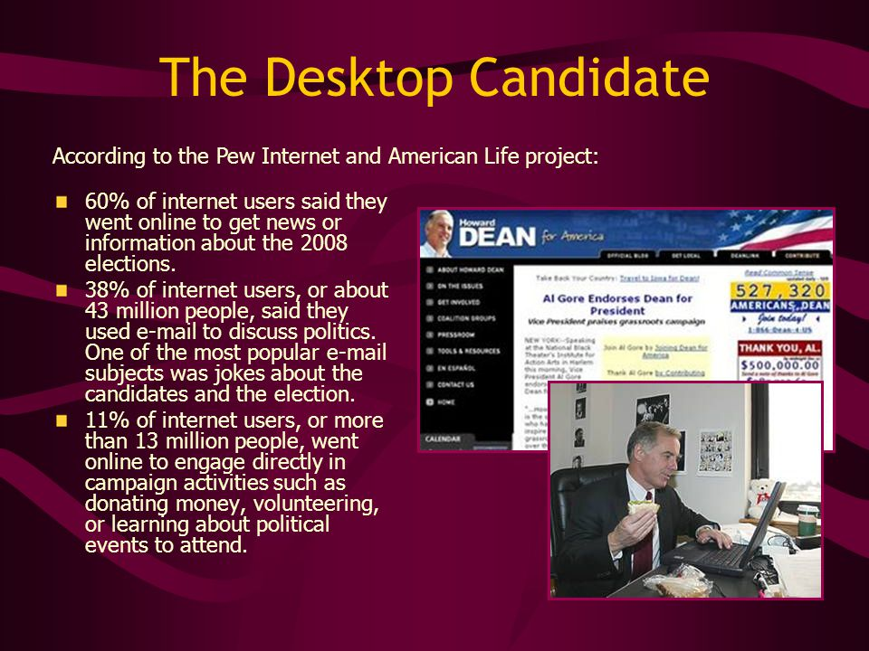 The Desktop Candidate 60% of internet users said they went online to get news or information about the 2008 elections. 38% of internet users, or about