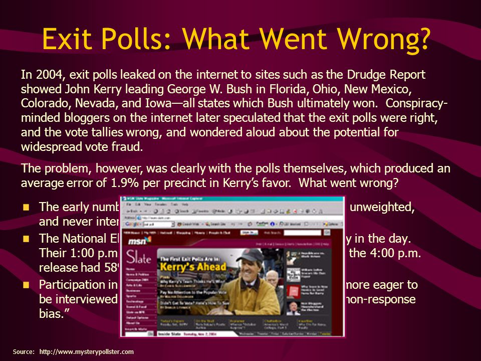 "Exit Polls: What Went Wrong? The early numbers leaked on the internet were ""raw"" and unweighted, and never intended for public disclosure. The Nationa"