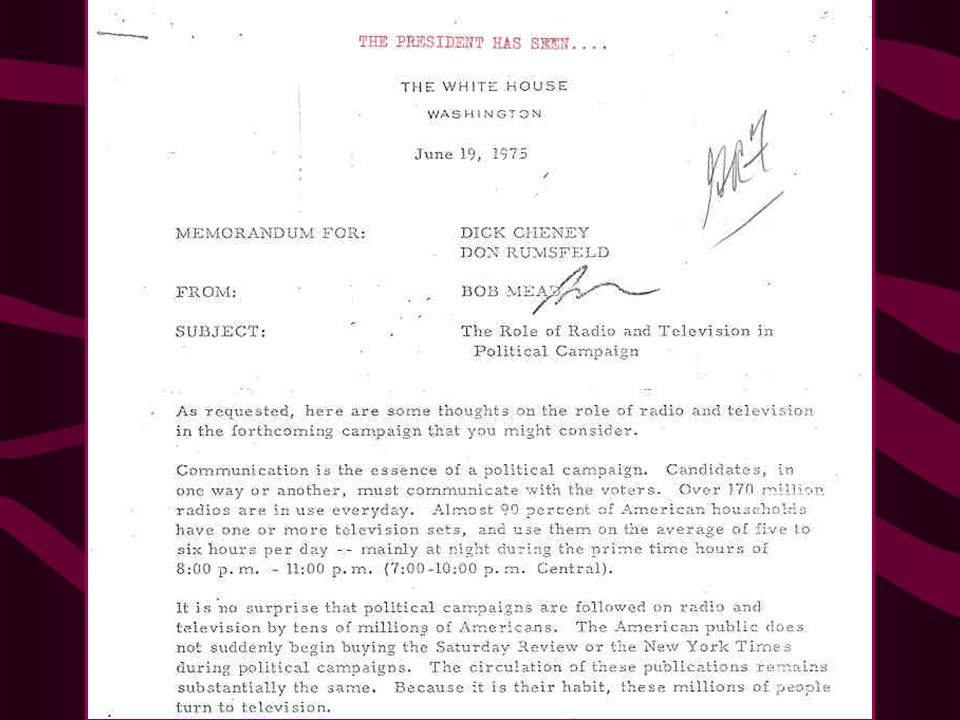 1975 Memo from Bob Mead to Dick Cheney and Donald Rumsfeld