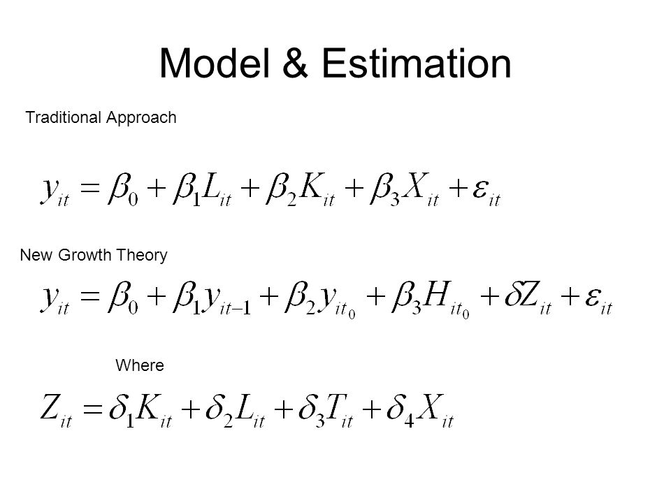 Model & Estimation Traditional Approach New Growth Theory Where