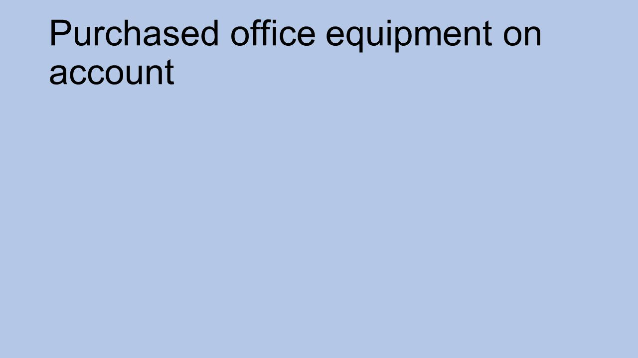 Purchased office equipment on account