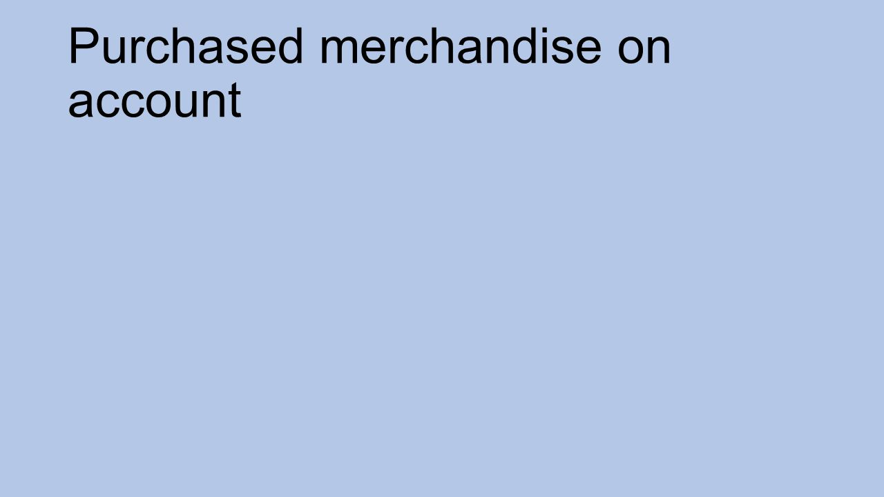 Purchased merchandise on account
