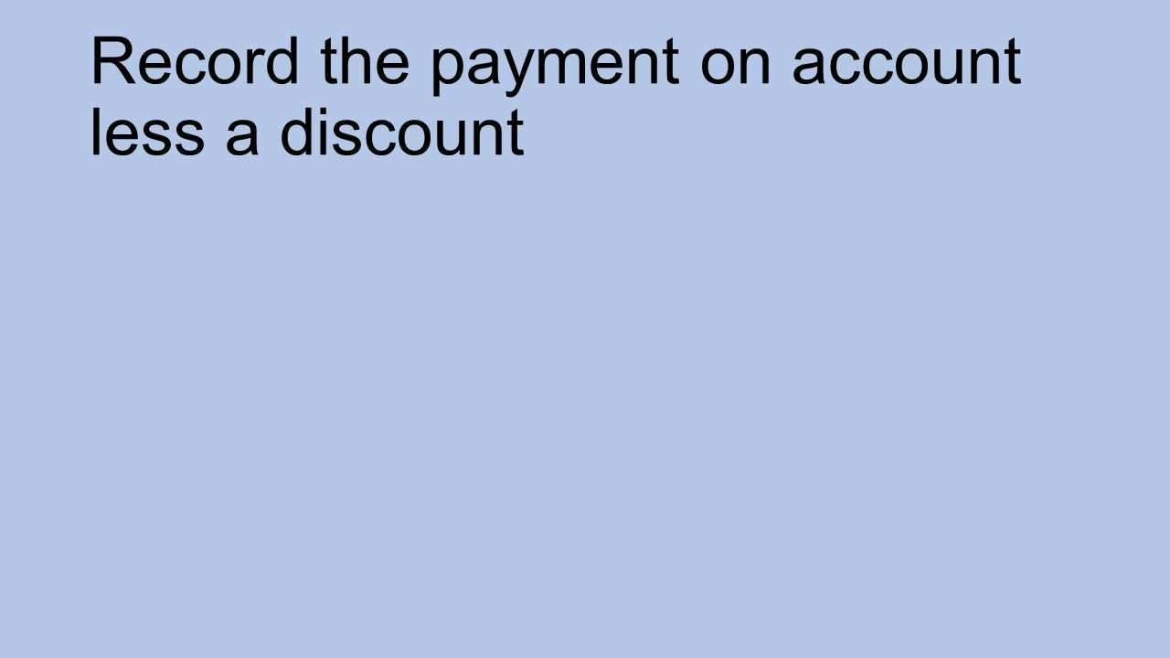 Record the payment on account less a discount