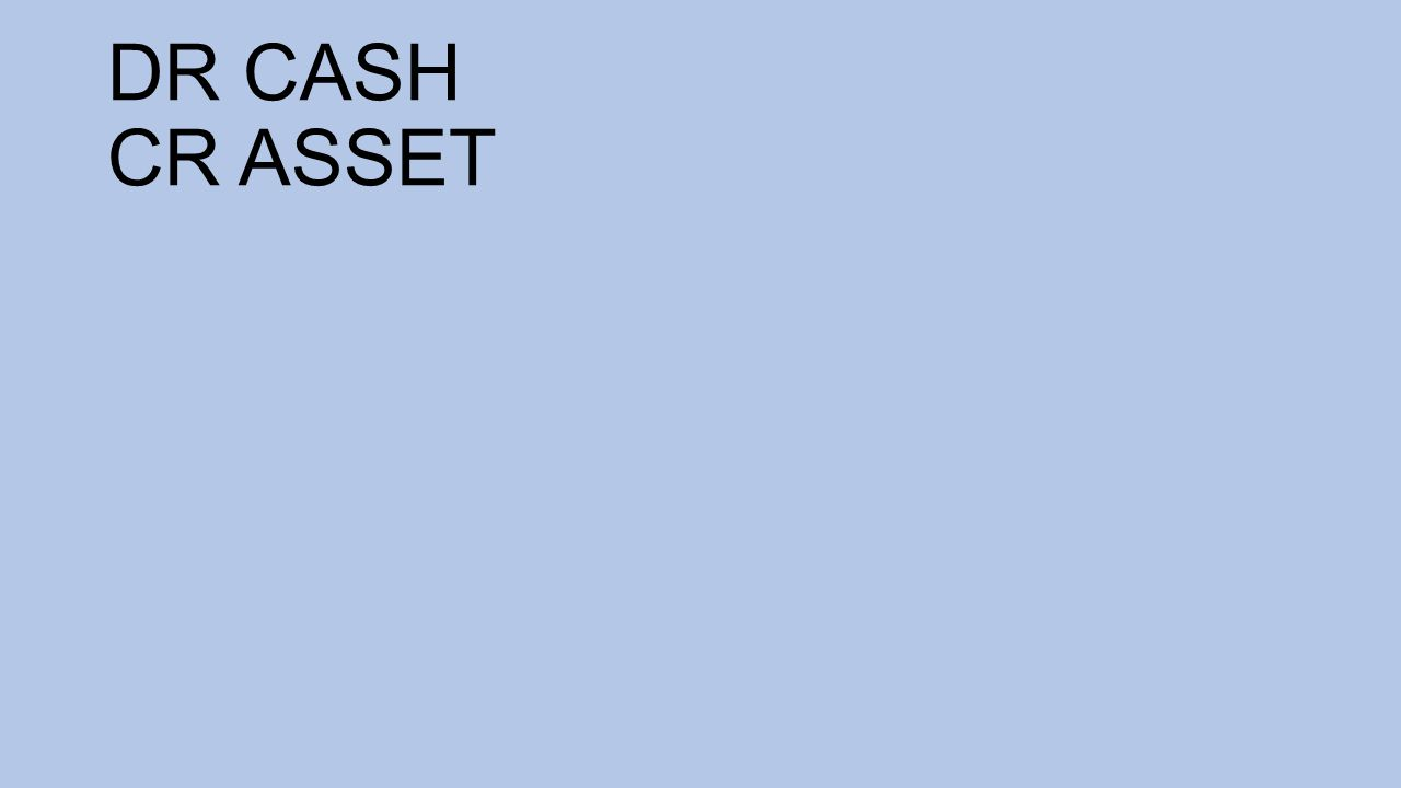 DR CASH CR ASSET
