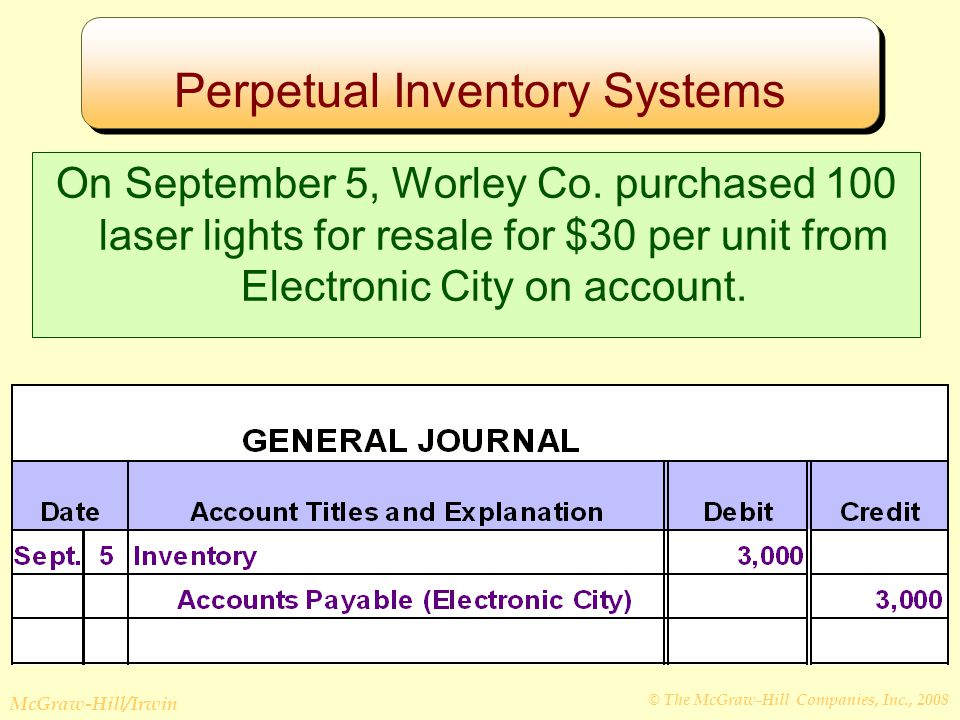 © The McGraw-Hill Companies, Inc., 2008 McGraw-Hill/Irwin Perpetual Inventory Systems On September 5, Worley Co.