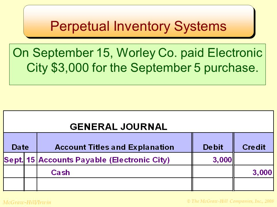 © The McGraw-Hill Companies, Inc., 2008 McGraw-Hill/Irwin Perpetual Inventory Systems On September 15, Worley Co.