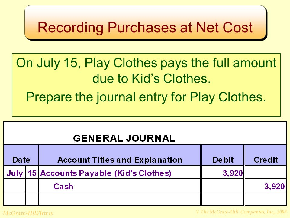 © The McGraw-Hill Companies, Inc., 2008 McGraw-Hill/Irwin Recording Purchases at Net Cost On July 15, Play Clothes pays the full amount due to Kid's Clothes.