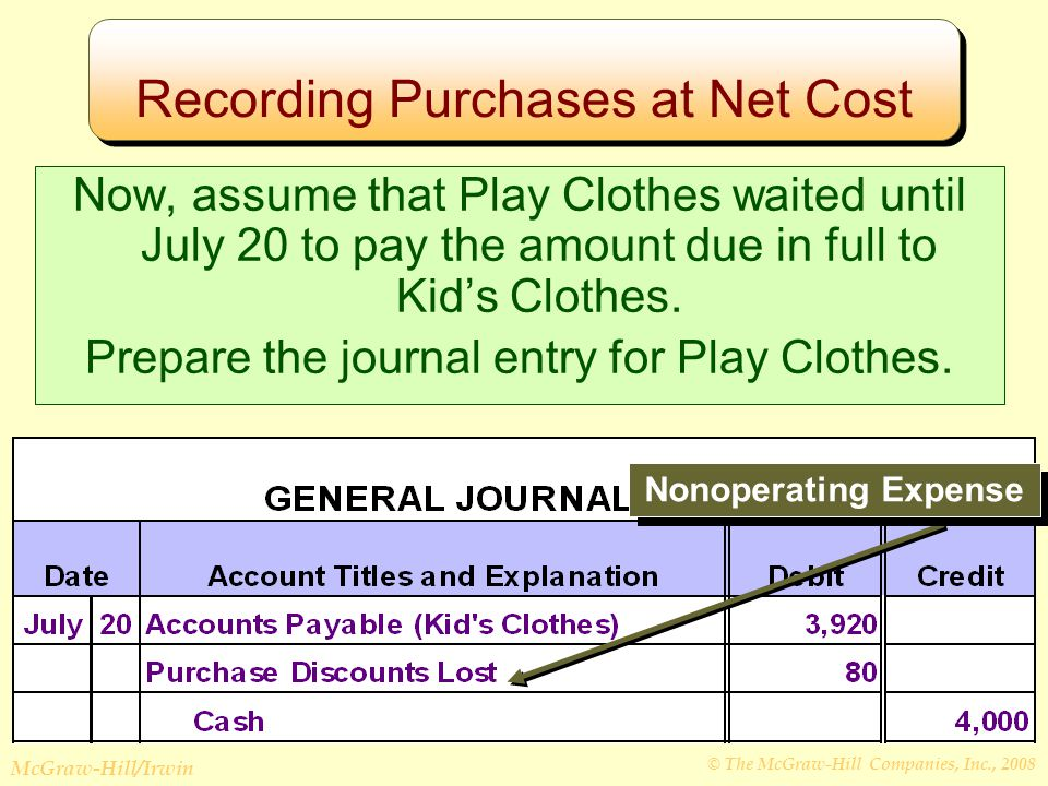 © The McGraw-Hill Companies, Inc., 2008 McGraw-Hill/Irwin Recording Purchases at Net Cost Nonoperating Expense Now, assume that Play Clothes waited until July 20 to pay the amount due in full to Kid's Clothes.