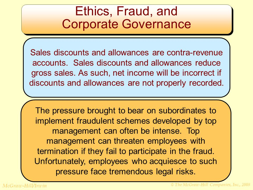 © The McGraw-Hill Companies, Inc., 2008 McGraw-Hill/Irwin Ethics, Fraud, and Corporate Governance Sales discounts and allowances are contra-revenue accounts.