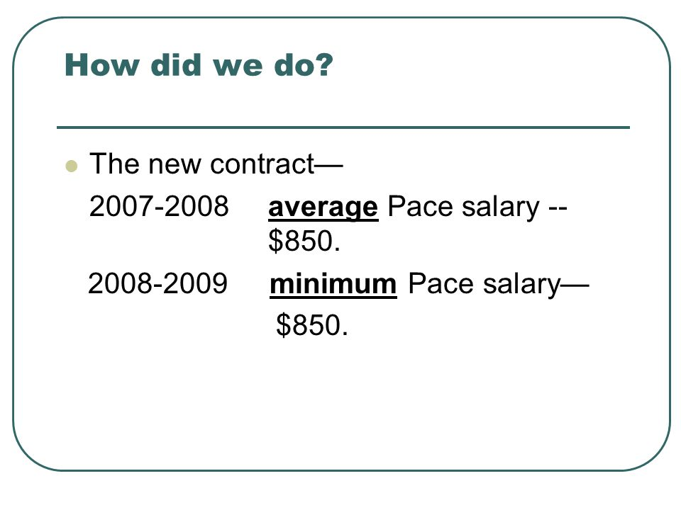 How did we do. The new contract— 2007-2008average Pace salary -- $850.
