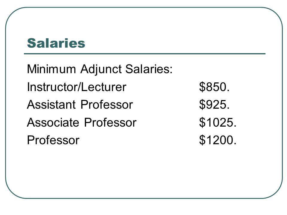 Salaries Minimum Adjunct Salaries: Instructor/Lecturer$850.