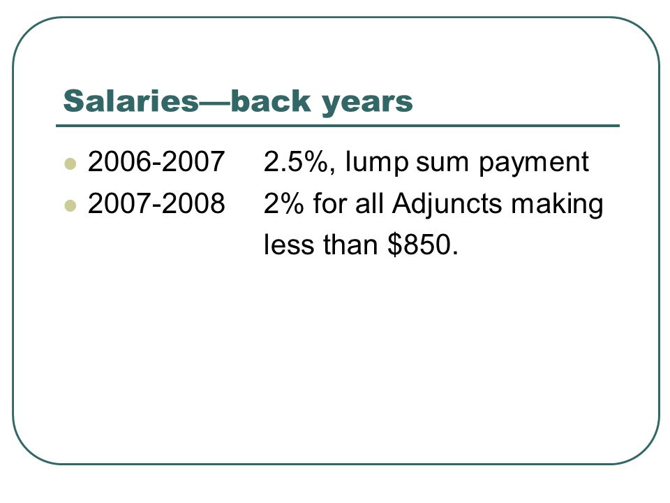 Salaries—back years 2006-20072.5%, lump sum payment 2007-20082% for all Adjuncts making less than $850.