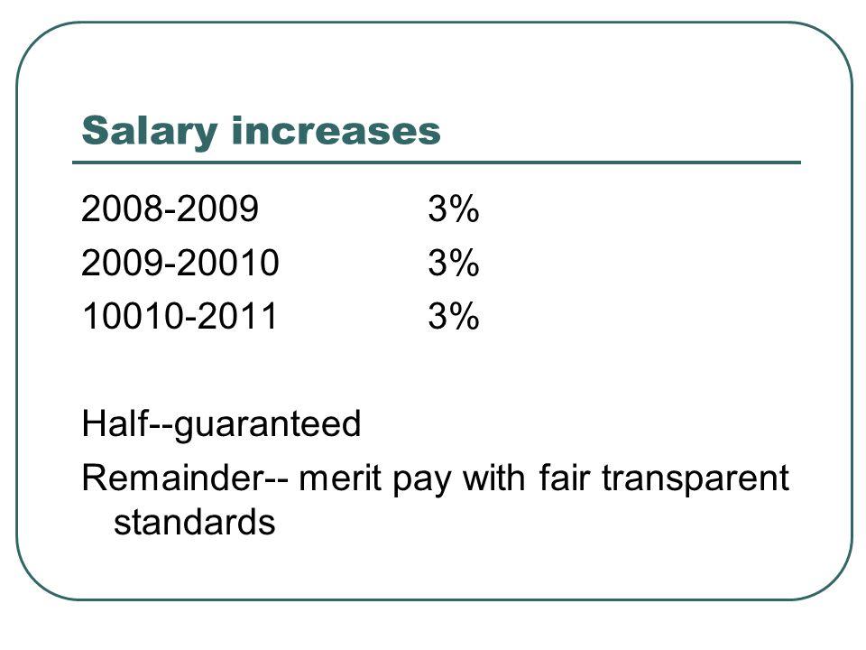 Salary increases 2008-20093% 2009-200103% 10010-20113% Half--guaranteed Remainder-- merit pay with fair transparent standards