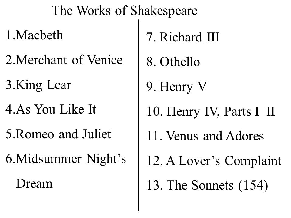 The Works of Shakespeare 1.Macbeth 2.Merchant of Venice 3.King Lear 4.As You Like It 5.Romeo and Juliet 6.Midsummer Night's Dream 7.