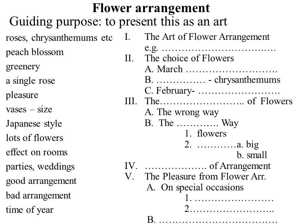Flower arrangement Guiding purpose: to present this as an art roses, chrysanthemums etc peach blossom greenery a single rose pleasure vases – size Japanese style lots of flowers effect on rooms parties, weddings good arrangement bad arrangement time of year I.The Art of Flower Arrangement e.g.