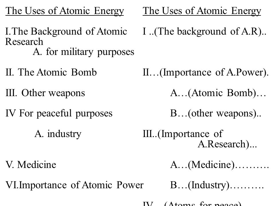 The Uses of Atomic Energy I.The Background of AtomicI..(The background of A.R)..
