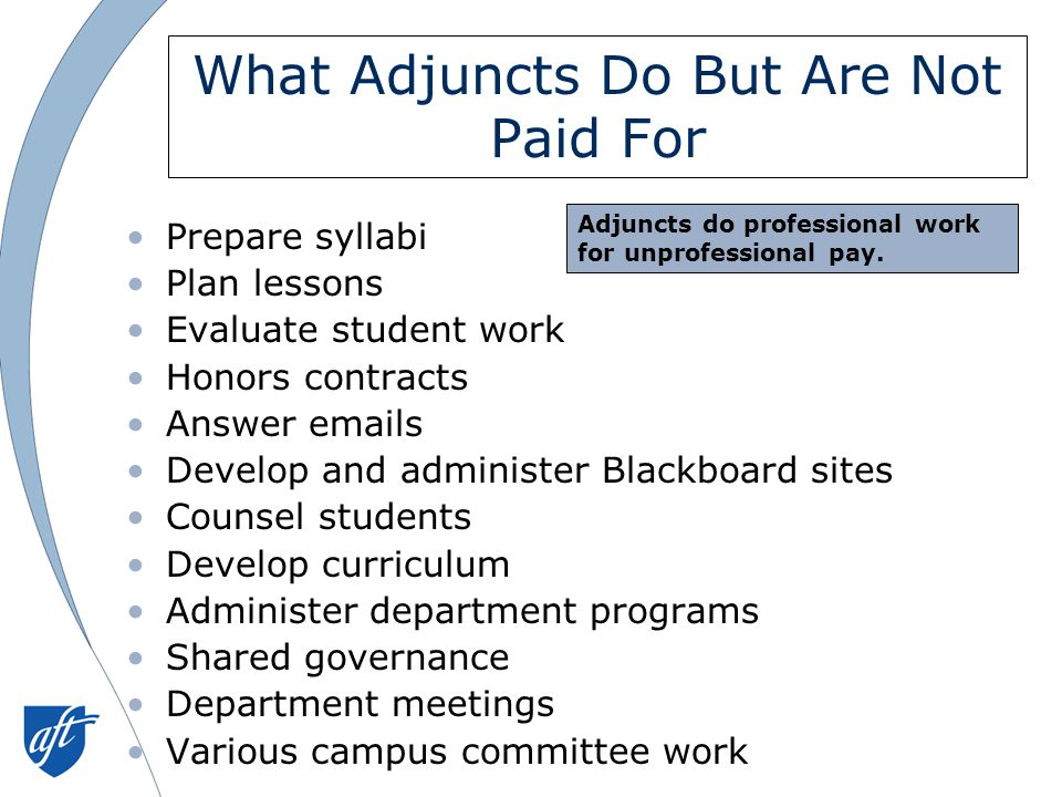 What Adjuncts Do But Are Not Paid For Prepare syllabi Plan lessons Evaluate student work Honors contracts Answer emails Develop and administer Blackboard sites Counsel students Develop curriculum Administer department programs Shared governance Department meetings Various campus committee work Adjuncts do professional work for unprofessional pay.