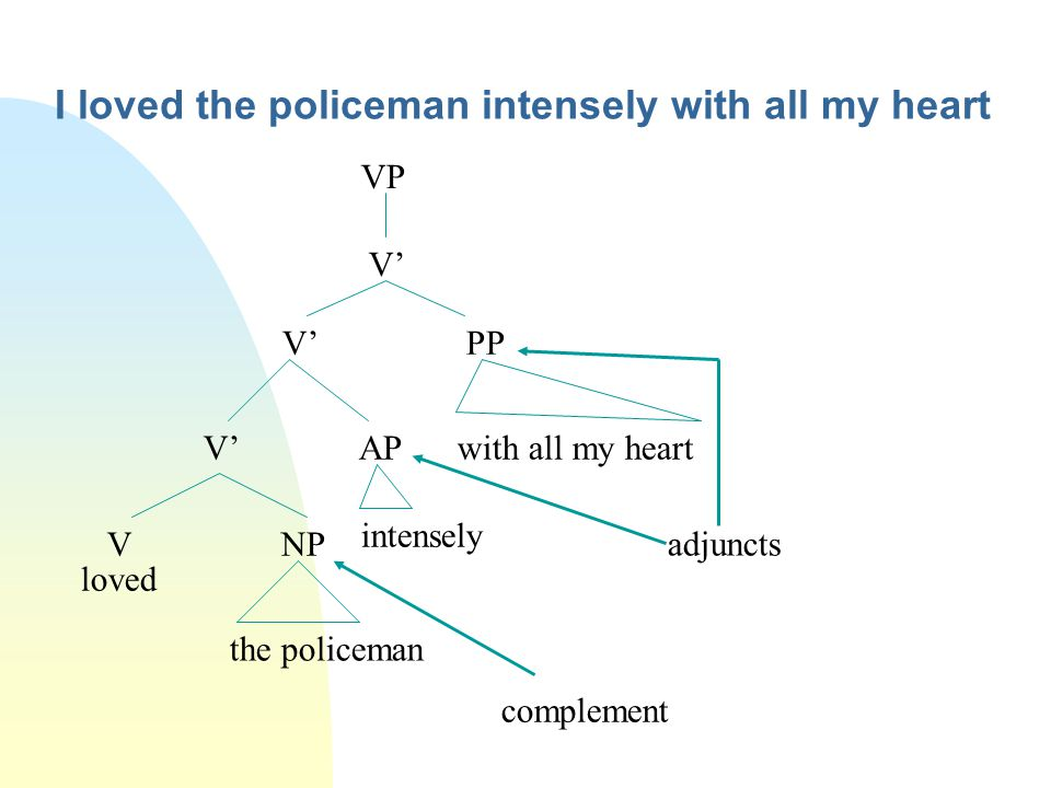 I loved the policeman intensely with all my heart VP V' V' PP V' AP V NP loved intensely with all my heart the policeman complement adjuncts