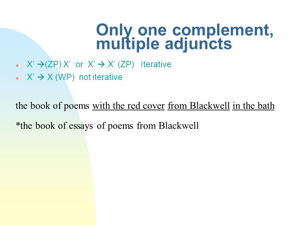 Only one complement, multiple adjuncts X'  (ZP) X' or X'  X' (ZP) Iterative X'  X (WP) not iterative the book of poems with the red cover from Blackwell in the bath *the book of essays of poems from Blackwell