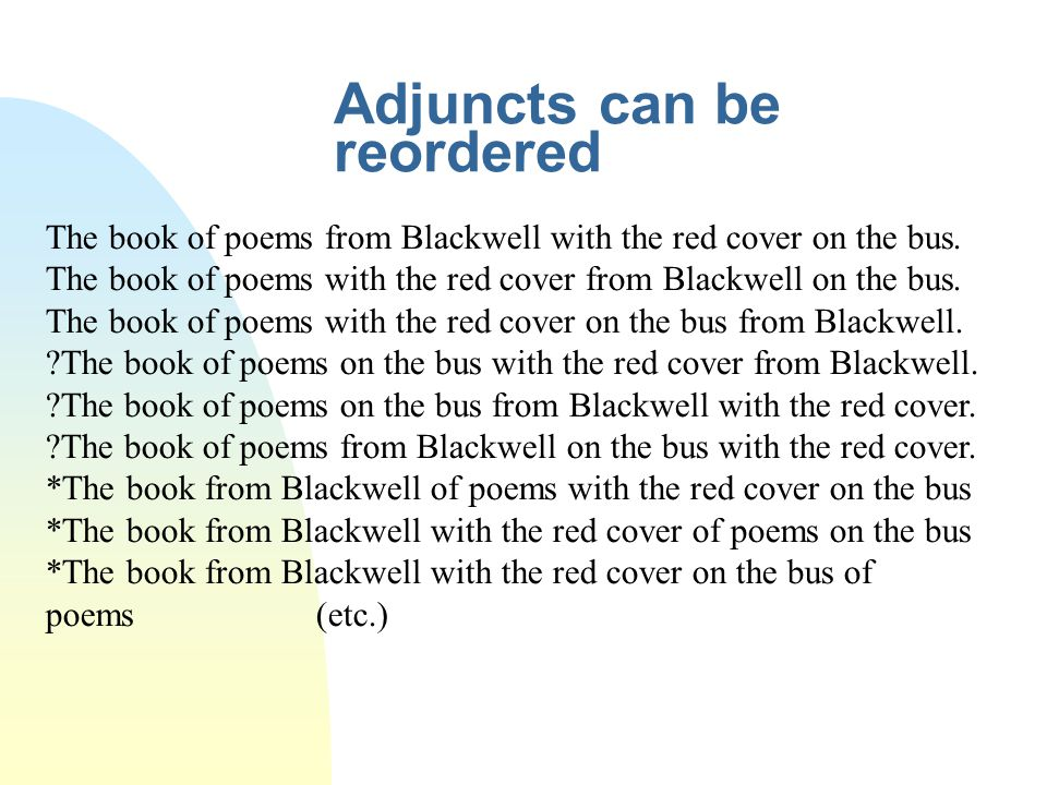 Adjuncts can be reordered The book of poems from Blackwell with the red cover on the bus. The book of poems with the red cover from Blackwell on the b