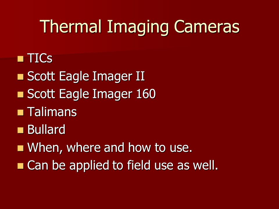 Thermal Imaging Cameras TICs TICs Scott Eagle Imager II Scott Eagle Imager II Scott Eagle Imager 160 Scott Eagle Imager 160 Talimans Talimans Bullard