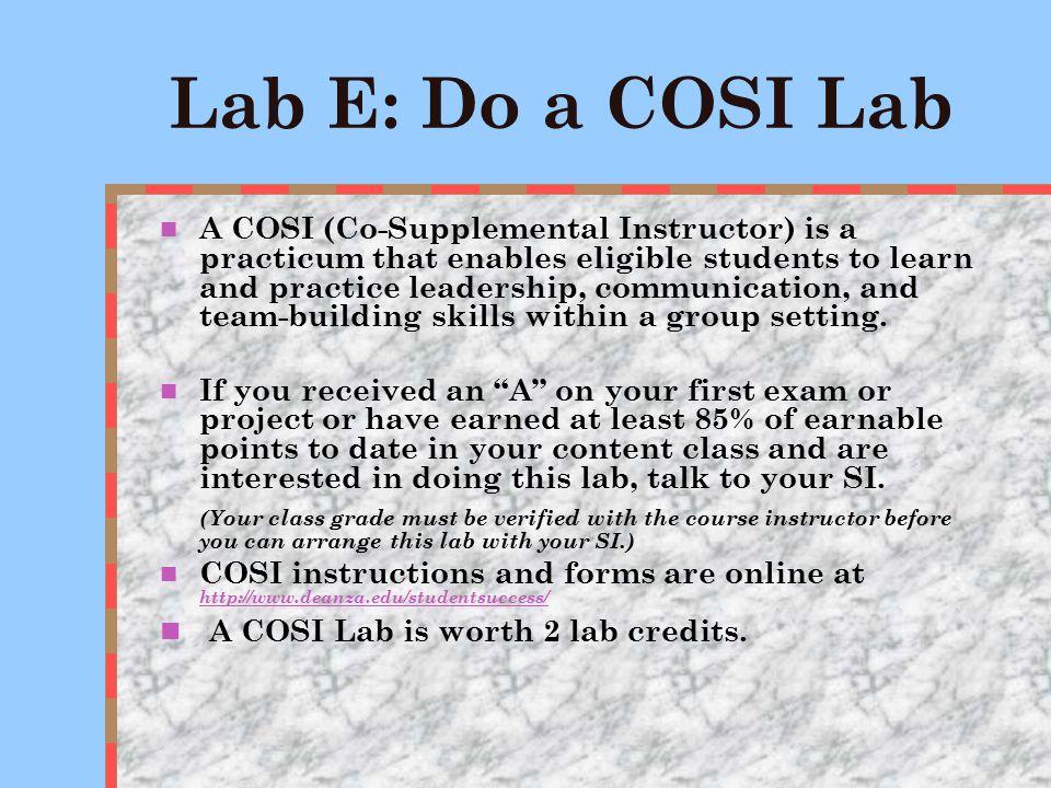 Lab D: COM-LINK (I & II) C.O.M.