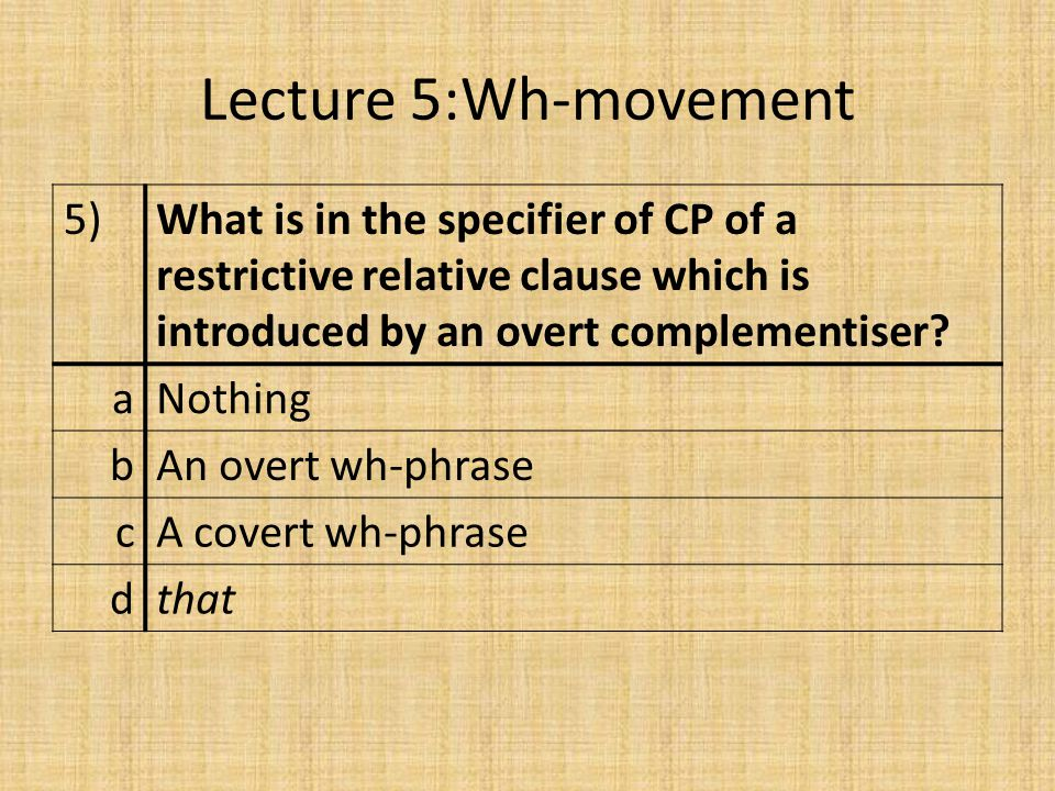 Lecture 5:Wh-movement 5)What is in the specifier of CP of a restrictive relative clause which is introduced by an overt complementiser.