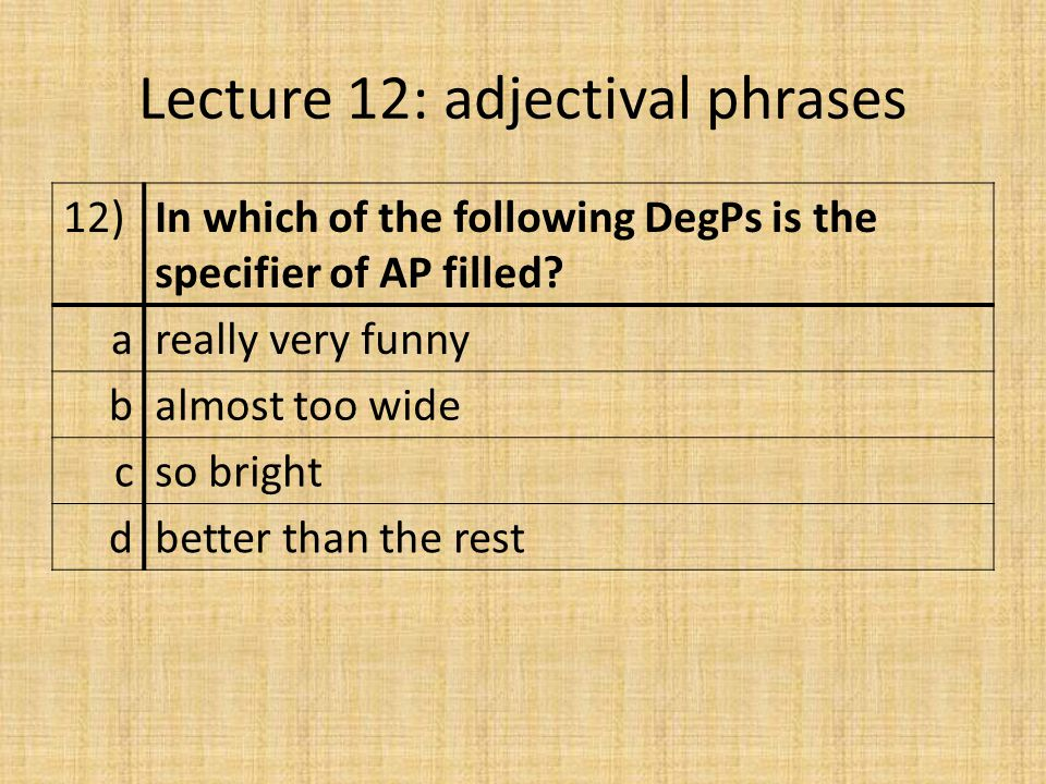 Lecture 12: adjectival phrases 12)In which of the following DegPs is the specifier of AP filled.